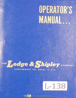 Lodge Shipley 2013 2013-17 Lathe Operators Instruction Wiring Parts Manual