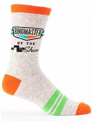 Blue Q Men's Crew Socks, Ringmaster of the S** Show - Gray/Orange - New (OSFA)