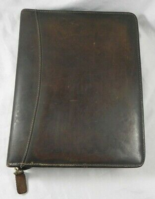 Franklin Quest Pre- Covey Distressed Sandstone Genuine Leather Classic Binder