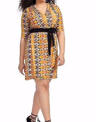 Lucie Lu Stretch Jersey Ladylike Wrap Dress In Mustard Print Size 0X - NO BELT