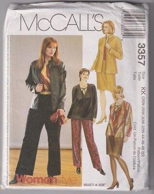 3357 McCALLS - JACKET TOP SKIRT PANTS - Sz 26/28/30/32 B 48-54