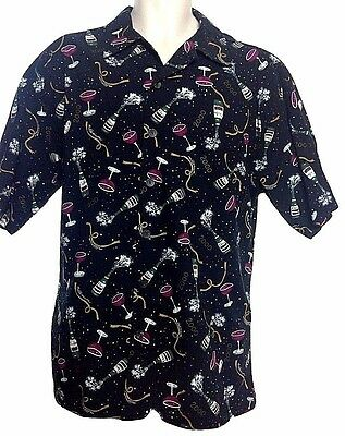 CACTUS BLACK LABEL Mens Black Millennium Champagne Button Up Shirt Sz -