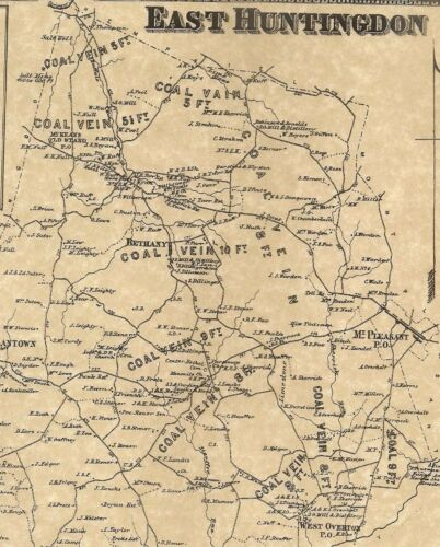 East Huntingdon Scottdale Ruffs Dale Tarrs  PA 1867 Map Landowners Names Shown