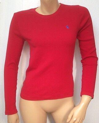 RALPH LAUREN SPORT Womens Size Medium Long Sleeve Red T Tee Shirt Crew Neck