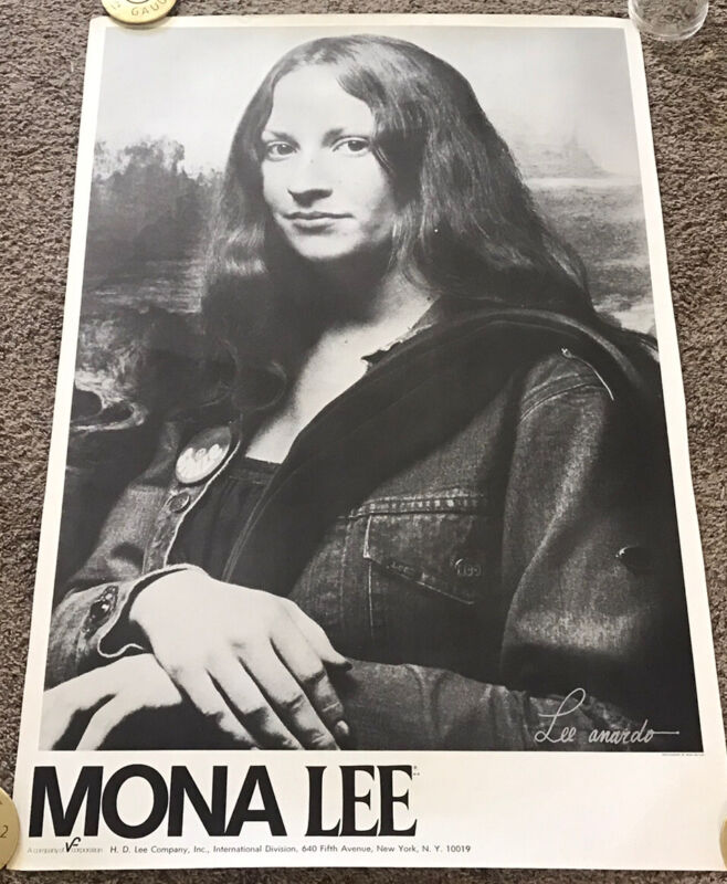 Original Rare 1970's LEE JEANS Mona Lisa Parody Ad Poster, Rolled, 24x36