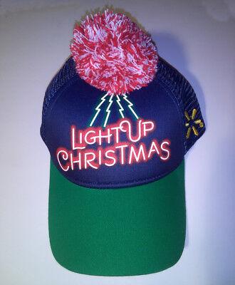 Official Baseball type Cap Hat ~WalMart  Light Up Christmas 2018 ~w - Blue Christmas Lights Walmart