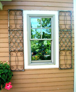 Wrought iron exterior window shutters metal wall art - Exterior metal paint colours decor ...