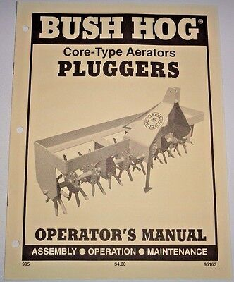 Bush Hog Pg-300 Thru Pg-720 Plugger Operators Owners Manual