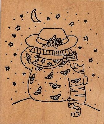 """starry night cat imagine rubber works Wood Mounted Rubber Stamp 4x 3"""""""