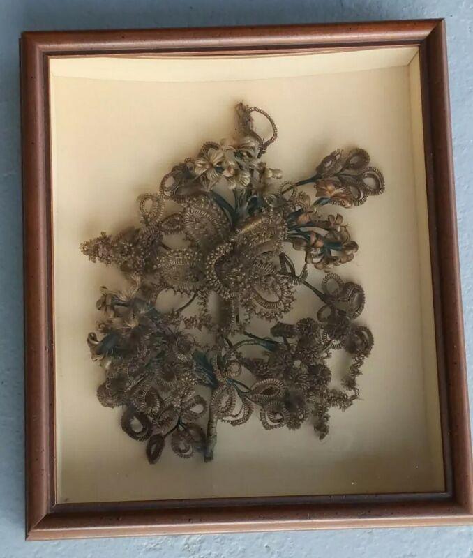 Antique 19th Century Victorian Floral Hair Art Vorwerk Family Detailed Flowers