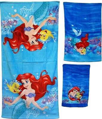 DISNEY FAVORITE CARTOONS THEMES BATH TOWEL 3PC 100% COTTON ARIEL LITTLE MERMAID ](Little Mermaid Towel)