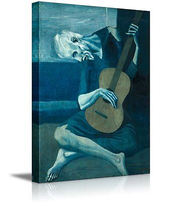 Famous Art Reproductions - The Old Guitarist by Pablo Picasso - Canvas Wall Art Famous Fine Art - 24