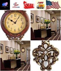Decorative Wall Clock Polyresin Brown Bronze With Pendulum Quartz Antique Style