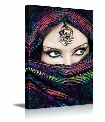 Canvas Prints Wall Art Home Decor- Arabic Woman with Beautiful Eyes - 24