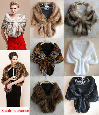 Women Faux Mink Fur Shawl Vest Shrug Coat Capelet For Weddings Evening Gown (Fur Womens Mink Coat)