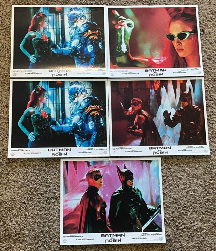 "Original (5) 1997 BATMAN & ROBIN Czech Movie Lobby Cards, 8x10"""