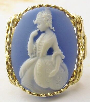 Fine Lady Rose Cameo Ring 14k Gf Gold Blue Jewelry