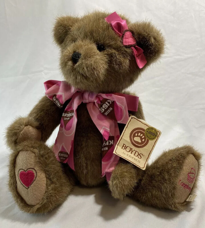 Longaberger Boyds By Enesco Luv N. Kisses Poseable Limited Edition Teddy Bear