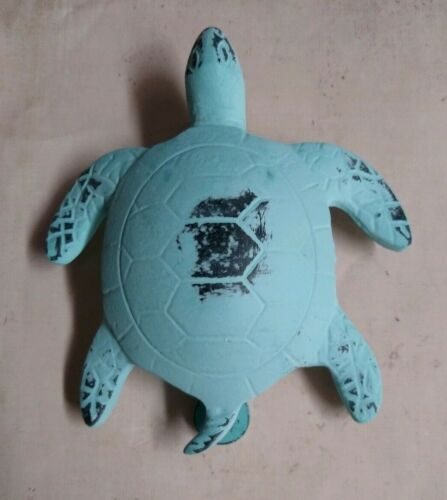 Nautical Beach Ocean Hardware Distressed Sea Turtle Door Knocker Cast Iron