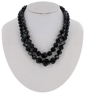 Vintage Black West Germany Beaded Multi Strand Necklace