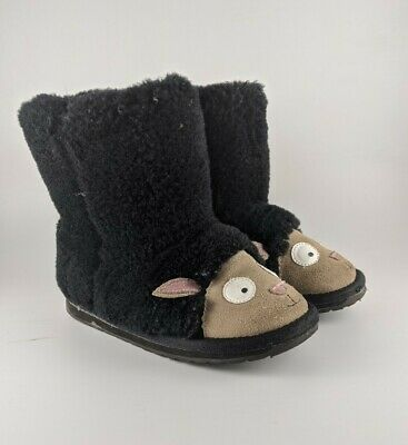 EMU Australia Youth Kids Black Merino Wool Lamb Walker Fur Booties K13