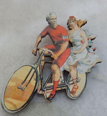 (Pin Bicycle Vintage Style Tandem Wood Brooch Multi-Color Bike Lapel Women)