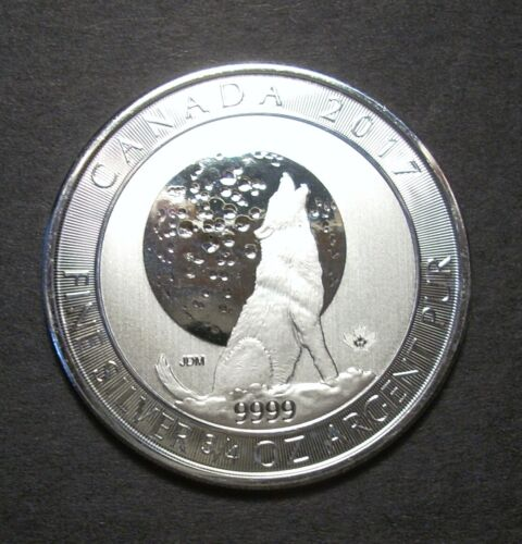 2017 Canada  .9999 Silver $2 Wolf Howling at Moon 3/4 ounce BU Coin Free Ship
