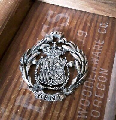 Pewter Trinket Shield coat of Arms Kent family lion castle crown XIV souvenir -
