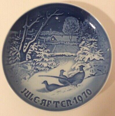 B & G Copenhagen Denmark 1970 Blue White Christmas Collector Plate Pheasants