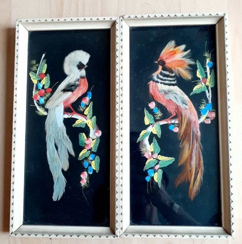 VINTAGE~MEXICAN FOLK FEATHER ART~BIRD PICTURES~CARVED WOOD FRAMES~MID CENTURY