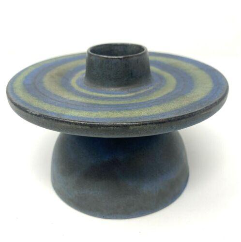 Mid Century Scherich Tundra Blue Candlestick Hand Made German Pottery