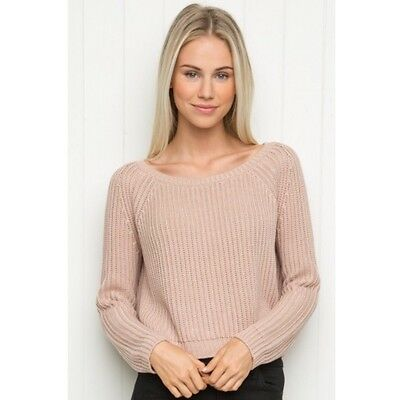 Last Onet  Brandy Melville Pink Cropped Cable Knit Gwen Sweater Nwt S M