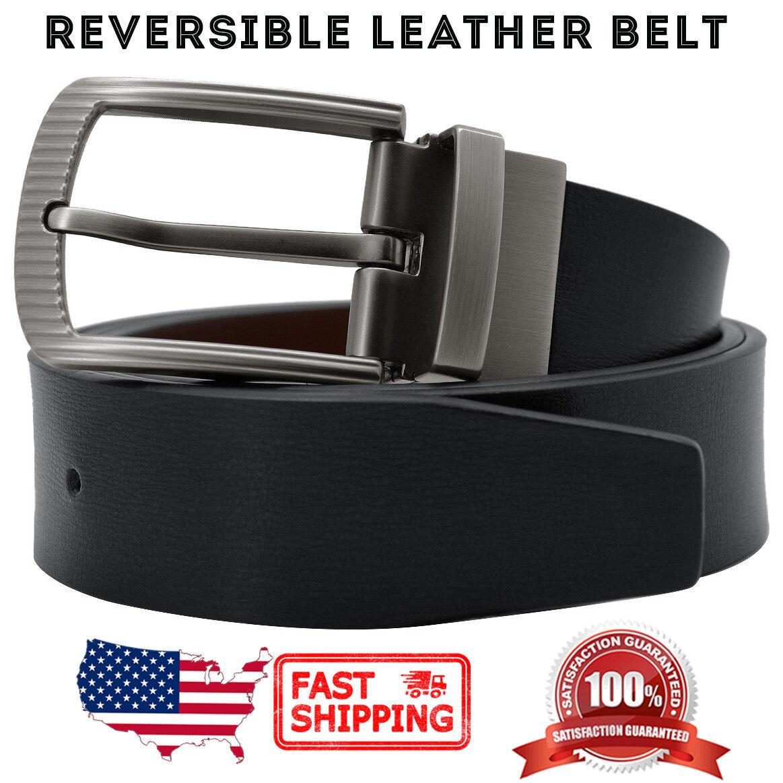 Men's Reversible Classic Metal Buckle Black & Coffee Genuine Leather Dress Belt Belts