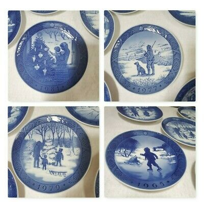 Lot of 4 Blue Royal Copenhagen Decorative Plates 1965-1979 Denmark Christmas