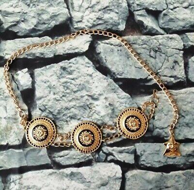 Vintage 80s 90s chunky gold Medusa sun charm chain waist Belt