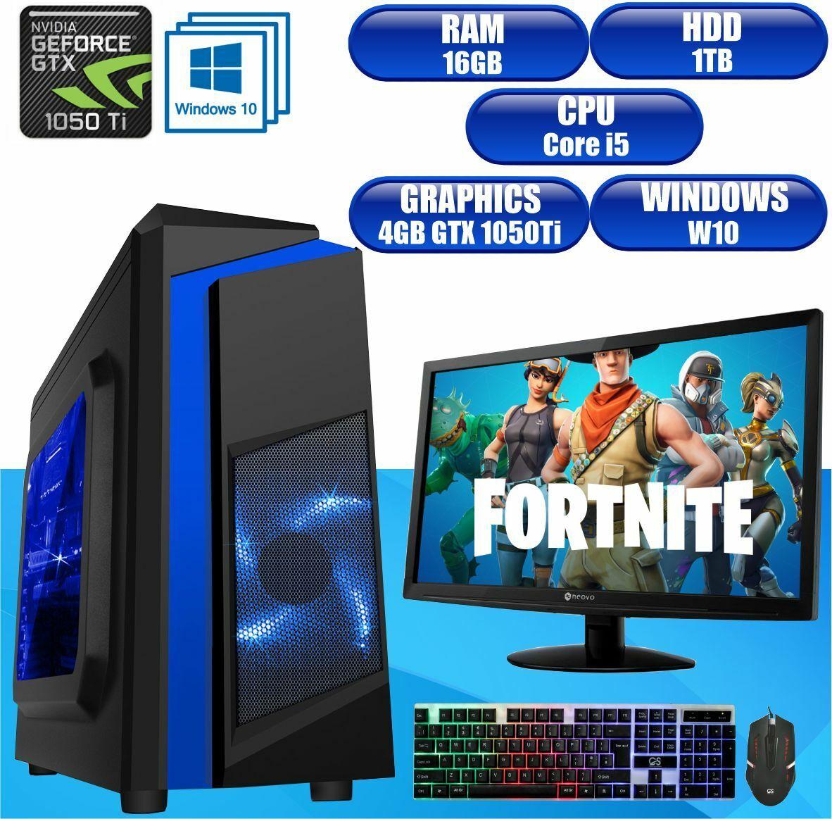 Computer Games - Fast Gaming PC Computer Bundle Intel Core i5 16GB 1TB Windows 10 4 GB GTX1050Ti