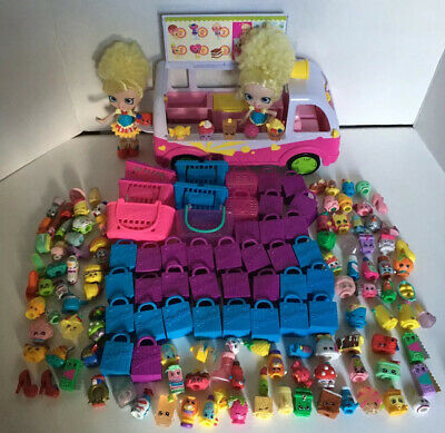 LARGE SHOPKINS 154 PIECE LOT ICE CREAM TRUCK VAN Dolls, Baskets, Bags, Poppet
