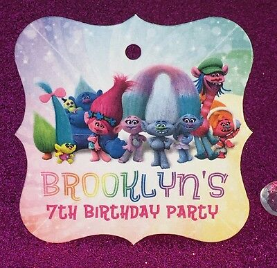 24 Trolls Movie Personalized Birthday Party Favor Tags - Rainbow Background (Troll Background)