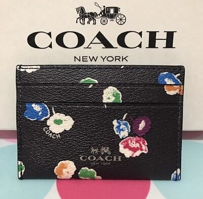NEW COACH Wildflower  Print Coated Canvas Card Case  Rainbow Multi F65574 $65