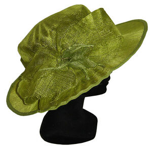 chapeau taille m l de ceremonie femme mariage 100 paille vert anis green hat ebay. Black Bedroom Furniture Sets. Home Design Ideas
