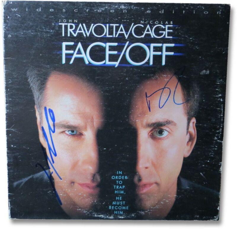 John Travolta Nicolas Cage Dual Autographed Laserdisc Cover Face/Off JSA EE19975