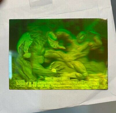 1993 Marvel Universe H-IV Spiderman vs Venom 3D Hologram card Rare!