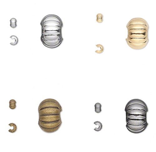50 Corrugated Crimp Tube Bead Covers 3MM 4MM 5MM Gold  Silver  & Gunmetal Plated