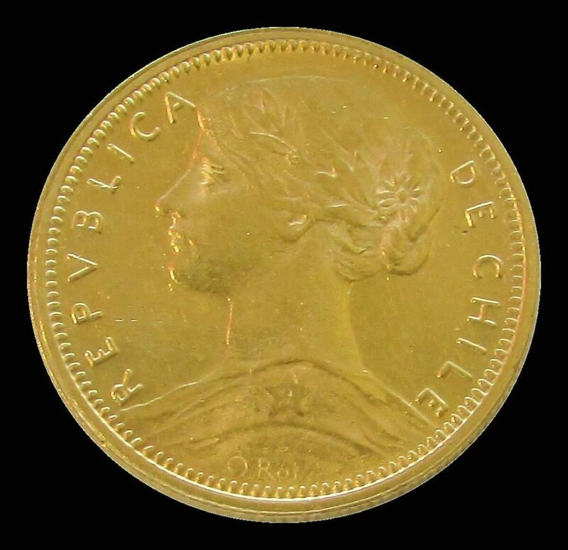 1896 SO GOLD CHILE 10 PESO COIN ABOUT UNCIRCULATED CONDITION