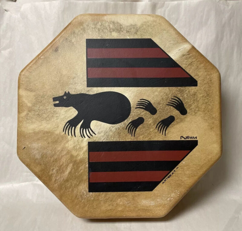 VINTAGE TRADITIONAL NATIVE DRUM TAOS HIDE LEATHER ARTBEAT 1994 OCTAGONAL