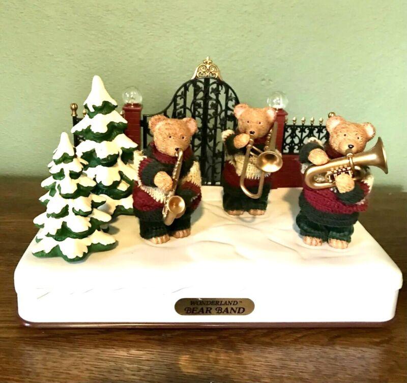 Christmas Wonderland Bear Band Lighted Holiday Decoration Animated 1997 Vintage
