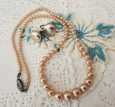 Vtg Antique Glass Pearl Screw Button Earrings Bead Necklace 925 Sterling Silver