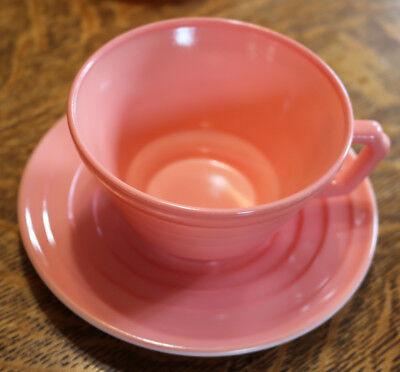 VINTAGE HAZEL ATLAS MODERNTONE PINK TEA CUP AND SAUCER SET  ESTATE FIND