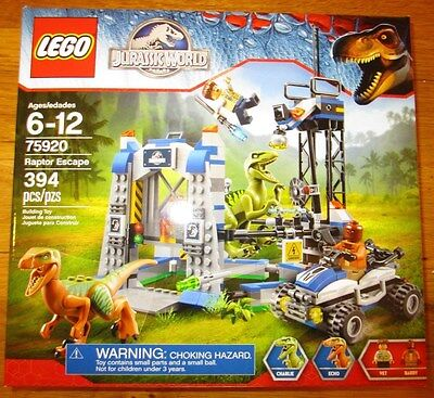 Lego JURASSIC WORLD WALMART EXCLUSIVE RAPTOR ESCAPE 394 PCS SET 75920 NEW  - Walmart Toys Legos