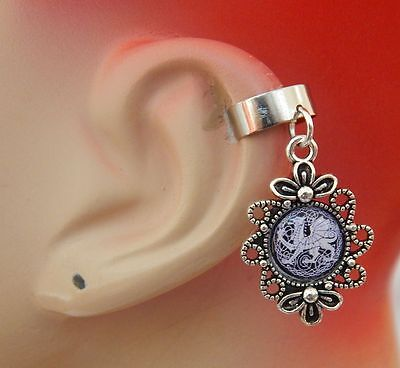 Silver Dragon Charm Drop/Dangle Ear Cuff Handmade Jewelry Accessories NEW